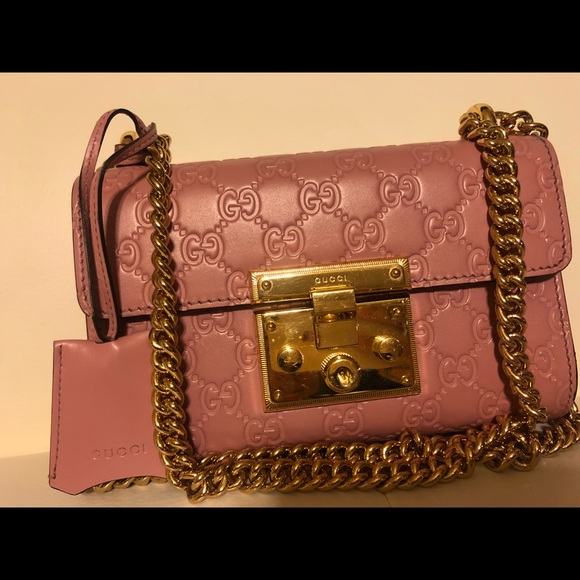 78a9c09c004f Gucci Bags   Pink Leather Padlock Bag Gold Chain   Poshmark